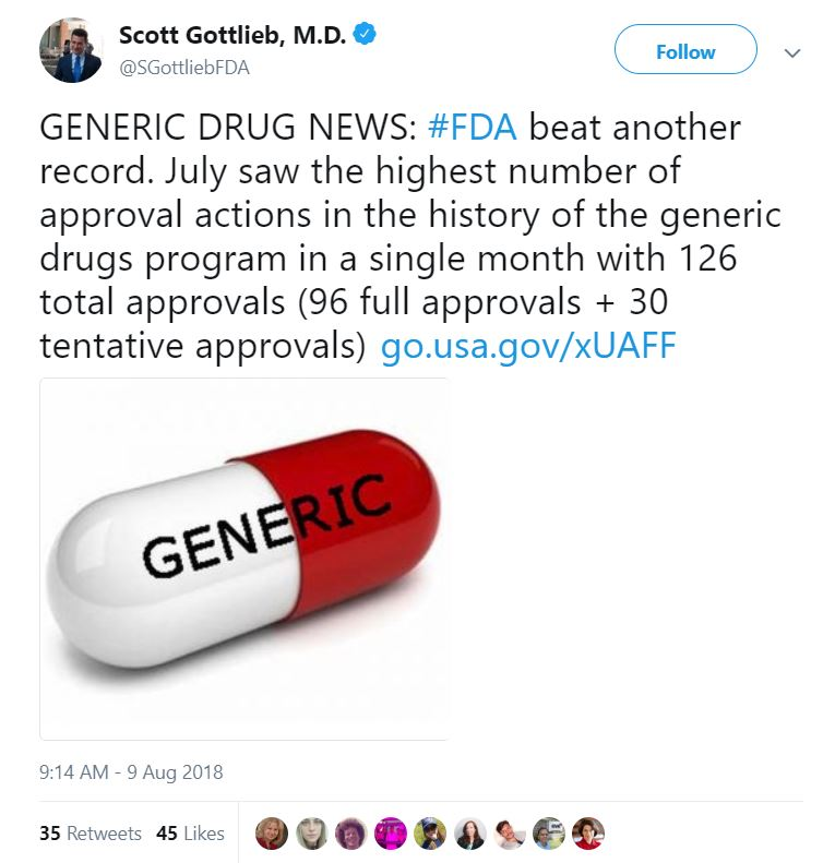 July 2018 Record High Month for Generic Drug Approvals
